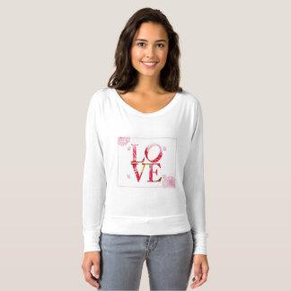Camisa longa da luva das mulheres do amor