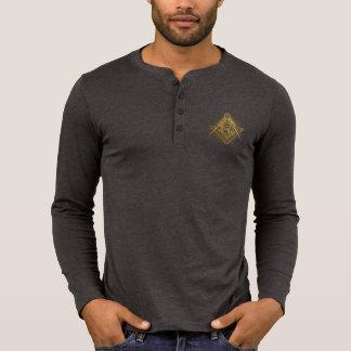 Camisa longa da luva de Henley do símbolo dourado