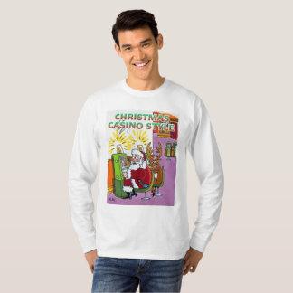Camisa longa da luva do estilo do casino do Natal