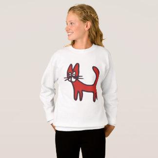 Camisa longa da luva do gato vermelho dos desenhos