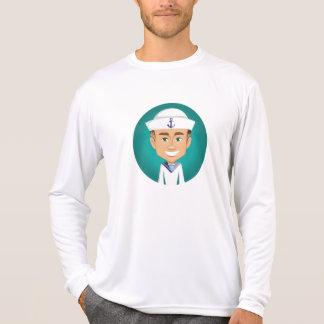 Camisa longa da luva do marinheiro dos homens