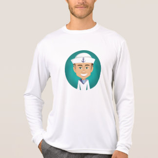 Camisa longa da luva do marinheiro dos homens t-shirts