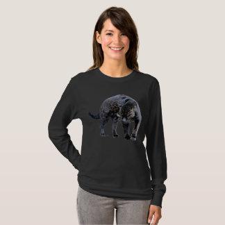 Camisa longa da luva do preto das mulheres de