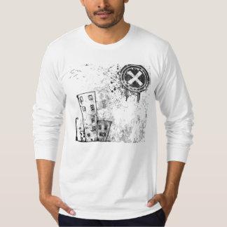 Camisa longa da luva do vetor urbano da cidade tshirts
