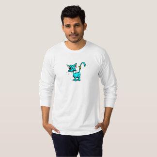 Camisa longa da luva dos homens do gato da catraca