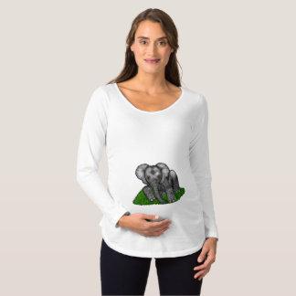 Camisa longa da maternidade da luva do elefante do