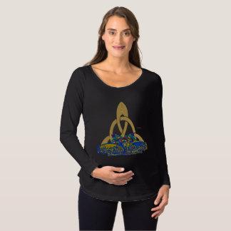 Camisa longa de maternidade da luva dos gatos de