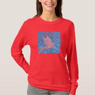 Camisa longa do Natal da luva da pomba da paz
