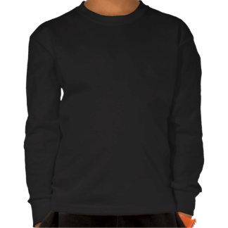 Camisa longa do preto da luva dos miúdos camiseta