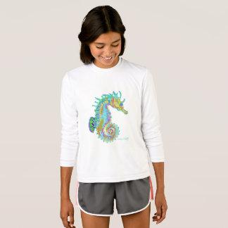 Camisa longa do T da luva do cavalo marinho