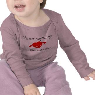 Camisa longa infantil da luva - (rosa) camisetas