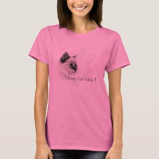Camisa louca da senhora t do gato