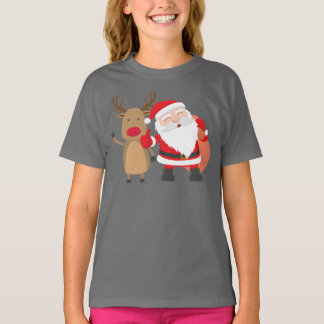 Camisa muito bonito de Papai Noel e de rena  