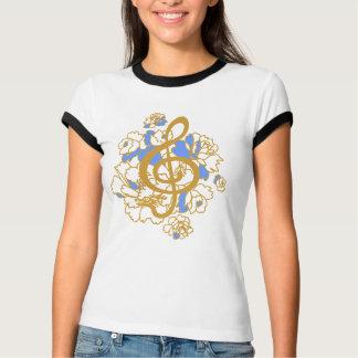 Camisa musical do costume das peônias do clef de