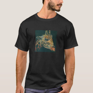 Camisa original do preto T da pintura do girafa