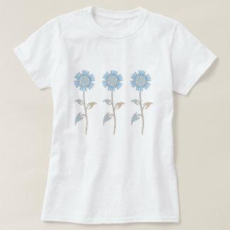 Camisa Pastel azul e bege da flor T