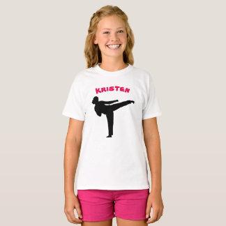 Camisa personalizada da menina do karaté