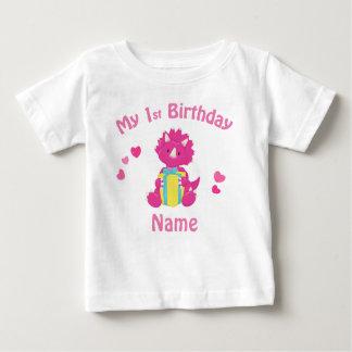 Camisa personalizada dinossauro do rosa da menina