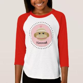 Camisa personalizada do macaco da peúga menina