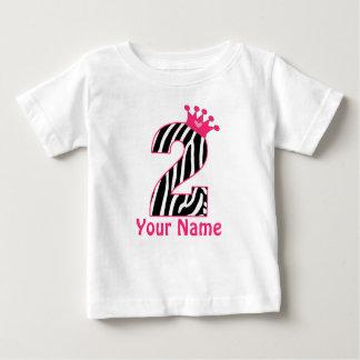 Camisa personalizada do segundo aniversário zebra
