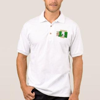 Camisa Polo Amor nigeriano mim bandeira do hearrt de Naija do