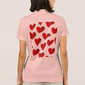 Camisa Polo Amor vermelho pintado teste padrão do coração da