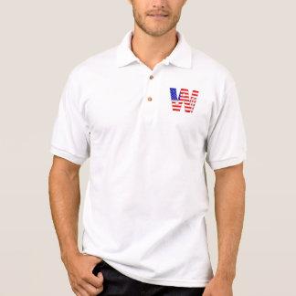 Camisa Polo Bandeira americana, monograma W da bandeira dos