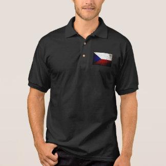 Camisa Polo Bandeira preta da república checa do Grunge