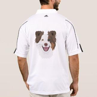 Camisa Polo Cara feliz border collie dos cães da ilustração