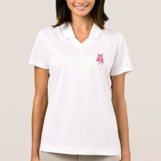 Camisa Polo Coruja retro do vintage cor-de-rosa