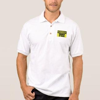 Camisa Polo Gamer do sinal de aviso no trabalho engraçado