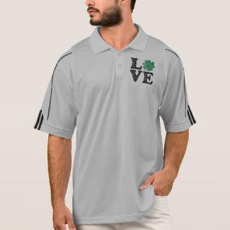 Camisa Polo Irlandês do trevo do AMOR do Dia de São Patrício