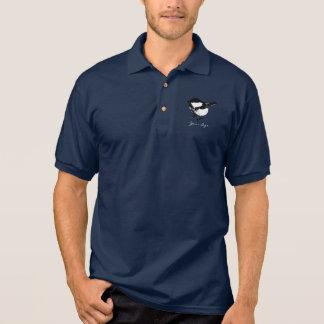 Camisa Polo Monograma preto & branco pequeno bonito do pássaro