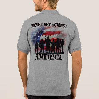 Camisa Polo Nunca aposta legal e patriótica contra América