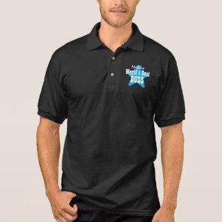 Camisa Polo O melhor CHEFE do mundo com PRETO da estrela V04