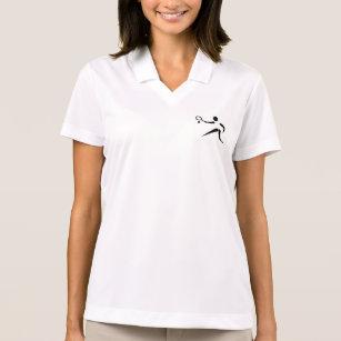 Camisa Polo O pólo das mulheres com insígnias do TÊNIS