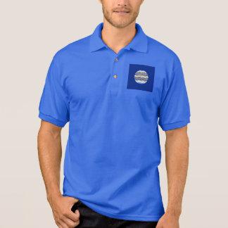 Camisa Polo O pólo dos homens azuis redondos do mosaico