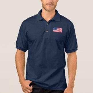 Camisa Polo O pólo dos homens clássicos da bandeira americana