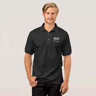 Camisa Polo Olá! texto feito sob encomenda branco do preto da