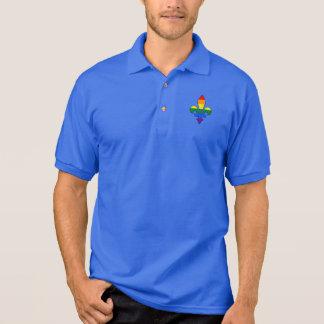 Camisa Polo Pólo da flor de lis do orgulho de LGBT