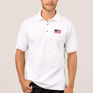 Camisa Polo Pólo do jérsei de Gildan da bandeira americana