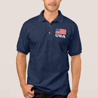 Camisa Polo Pólo patriótico com bandeira americana | EUA