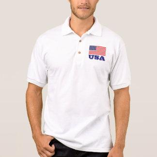 Camisa Polo Pólos patrióticos com bandeira americana | EUA