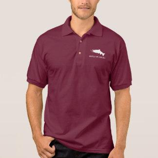 Camisa Polo Salmões de Coho enganchados na pesca