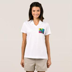 Camisa Polo salto do verde da onda do arco-íris 05d97619b8571
