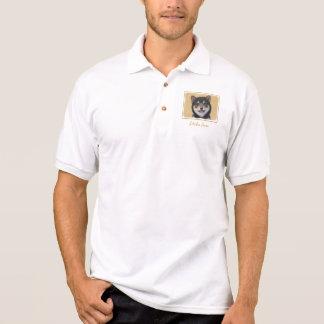 Camisa Polo Shiba Inu (preto e Tan)