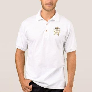 """Camisa Polo Símbolo """"3-D"""" dourado alfa e de Omega w/Crown"""