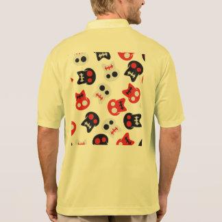 Camisa Polo Teste padrão colorido do crânio cómico