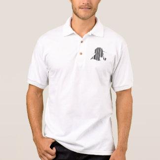 Camisa Polo Teste padrão de fumo do código de barras da
