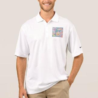 Camisa Polo Teste padrão floral da arte
